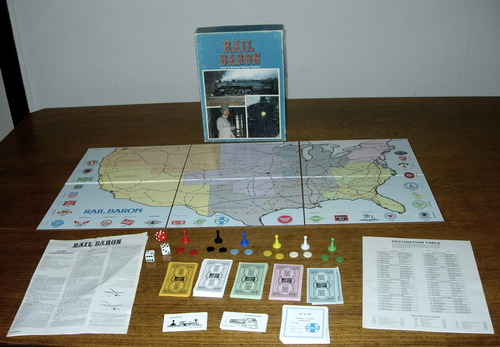 Rail Baron game board and pieces